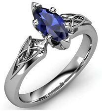 1.75 Ct Marquise Blue Sapphire Solitaire Engagement Ring 14K White Gold Over