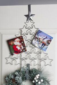 Silver Christmas Tree Christmas Card Holder & Wreath Hanger Overdoor