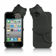For Apple iPhone 4 4S Cat Design High End Skin Silicone 3D Rubber Case Black