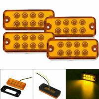 4X 8LED Auto LKW Seitenmarkierungsleuchten Seitenleuchte Lampe Blinker Gelb 12V