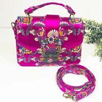 Aldo Pink Jeweled Floral Handbag Purse with Detachable Crossbody Strap