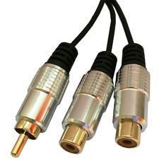 1 RCA Male to 2 Phono Female Splitter Y Adapter Cable/Lead-T Subwoofer Audio A5C