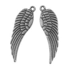 Packet 30 x Antique Silver Tibetan 9 x 30mm Angel Wings Charm/Pendant HA06390