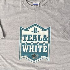 SJ Sharks Teal and White Game 2011 T-shirt XL San Jose Hockey Pre Season Promo
