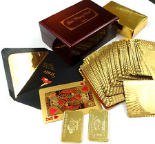24k GOLD Deck Playing Cards Wooden Polished Wooden Box Case Replica Bullion Bar
