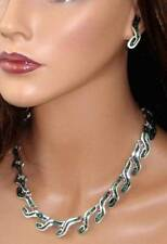 Vintage TAXCO MEXICO Sterling Silver Malachite Necklace & Pierced Earrings Set