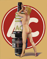 AC Spark Plug Naked Girl 2 Mancave Beer Fridge Magnet