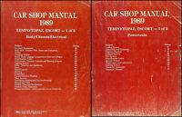 1989 Ford Tempo Escort Topaz Repair Shop Manual Set 89 Mercury Original Service