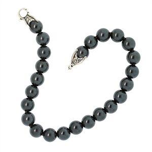 "David Yurman Sterling Silver 8mm Hematite Spiritual Beads Men's Bracelet 8"""
