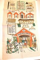 Wert Country Prints Linen Tea Towel Dish Towel Covered Bridges Horses Equestrian