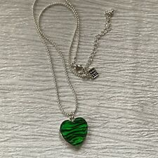 Estate Silvertone Bead Chain w BFF and Green & Black Animal Print Plastic HEART