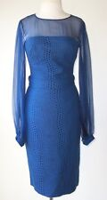 ZUHAIR MURAD Blue Lace Belted Sheer Sleeve Dress 2 4