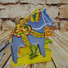 Cut Out Pullout Tabletop Garland Parade Red Blue Dala Horse Swedish Scandinavian