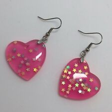 Hot Pink Large Heart Glitter Holo Star Acrylic Earrings D206 Kitsch Fun 5 cm