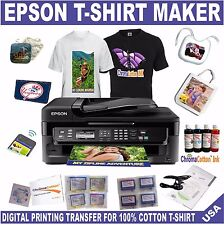 EPSON PRINTER WF BULK INK REFILL INK T-SHIRT MAKER TRANSFER COTTON STARTER PACK