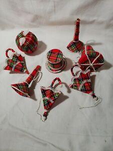 Vintage 70s Christmas fabric plaid ornaments set of 8