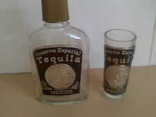 Unique glass Tequila hip flask with matching tall shot glass