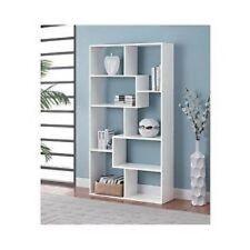 White Wood Bookcase Modern Bookshelf Display Cube Storage Shelves Home Office