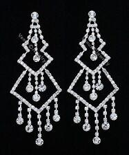 "4.5"" Bridal Wedding Pageant Crystal Chandelier Earrings"