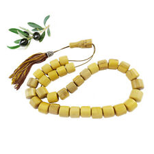 Greek Koboloi Worry Bead Natural Olive Wood Kompoloi 33 Beads 12mm Collectible