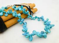"""925 Sterling Silver Blue Simulated Turquoise Beaded Toggle Clasp Necklace 15.5"""""""