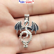 BULK! 8PCS Bright Silver Color FLYING DRAGON Cage Pendant for Bead/Gem/Pearl