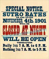 California Sutro Baths 1901 Open Closed Sign Vintage Poster Print Retro Art