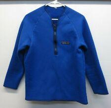 Rare! Vtg 70s Patagonia Big Logo Blue Reverse Deep Pile Fleece 1/2 Zip Jacket  L