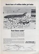 """1962 Alitalia Airlines PRINT AD from """"down under"""" kid's pic of jet fun kid decor"""