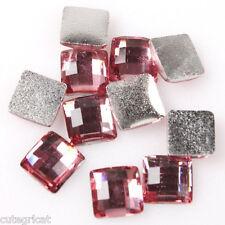 50PCS -Pink 6mm Square Flatbacks - Beautiful shine