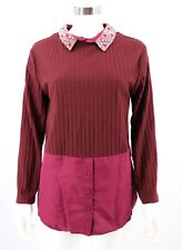 KAS New York Women Top NEW Burgundy Mixed Media Detachable Beaded Collar Small