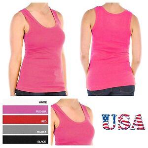 Women's 100% Cotton Plain Plus Size  Ribbed Tank Top Tee Sports Yoga  XL,2XL,3XL