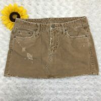 American Eagle Womens Corduroy Mini Skirt Size 0 100% Cotton Brown cr3459