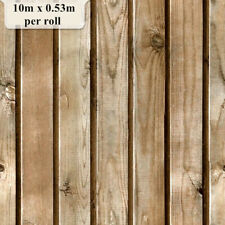 Natural Wood Timber Plank Wallpaper Roll Vintage Realistic looking 10m x 0.53m