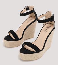 No Doubt Womens UK 7 EU 40 Black Braided Espadrille Wedge Heel Platform Sandals
