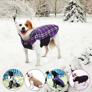 Kuoser Cozy Waterproof Windproof Reversible Purple Plaid Dog Vest Size Small