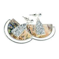 Beautiful 4.5cm long silver tone - Rhinestone & shell effect drop earrings