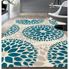 Throw Rug Blue Floral Contemporary Living Room Dining Area Floor Mat Scatter 5x7