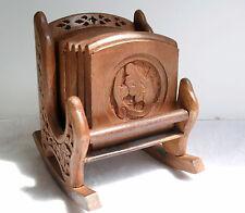 Mano intagliato rocking chair design Coaster Set - 6 WOODEN COASTERS in titolare