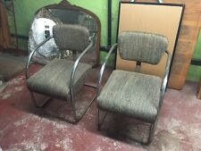 Vintage Pair Chrome & Cloth Chairs Rare Circa Late 1940s/50's Waiting Room Wow!