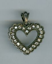 Vintage Nice Sterling Silver Heart Shaped Pendent with Stones