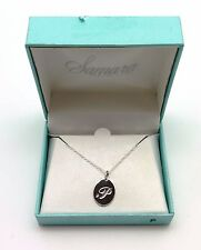 """SAMARA Sterling Silver Necklace Letter """"P"""" Engraved Pendant Lobster Claw Clasp"""