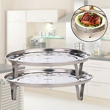 Stainless Steel Steam Rack Steamer Basket Glass Lid Pan Stand Fry Induction