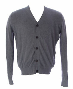 ETIQUETA NEGRA Men's Light Gray Melange Button-Up Cardigan ENHS08