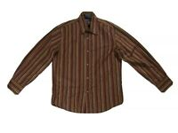 FACONNABLE Mens Small Long Sleeve Button Up Shirt Striped Cotton Brown Orange.C3