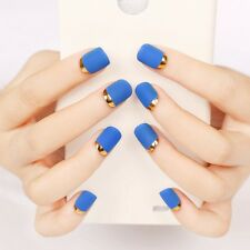 New 24Pcs Blue Short False Nails Full Metal Frosted French Nail Art Tips Acrylic