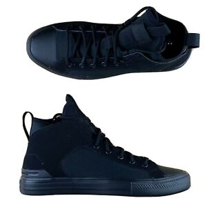 Converse Chuck Taylor All Star Ultra Mid Top Triple Black Shoes 162378C Size 9.5