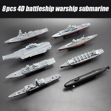 8pcs 4D Assembled Battleship Aircraft Carrier Submarine Warship Ship DIY Models