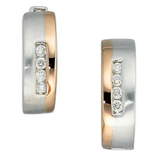 Belamonda Damen Creolen 585 Gold Weißgold Rotgold Teilmattiert 8 diamanten Brill