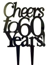 Cheers to 60 Years Birthday 60th Anniversary Cake Topper Party Decoration Sign